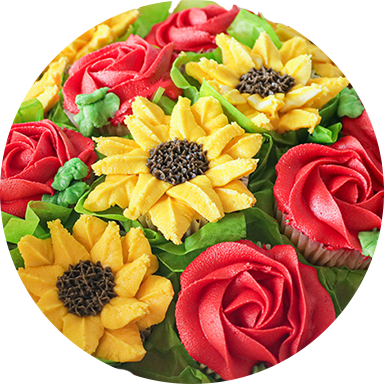 Cream Flowers, Cupcake-Sunflowers and Cupcake-Red Roses